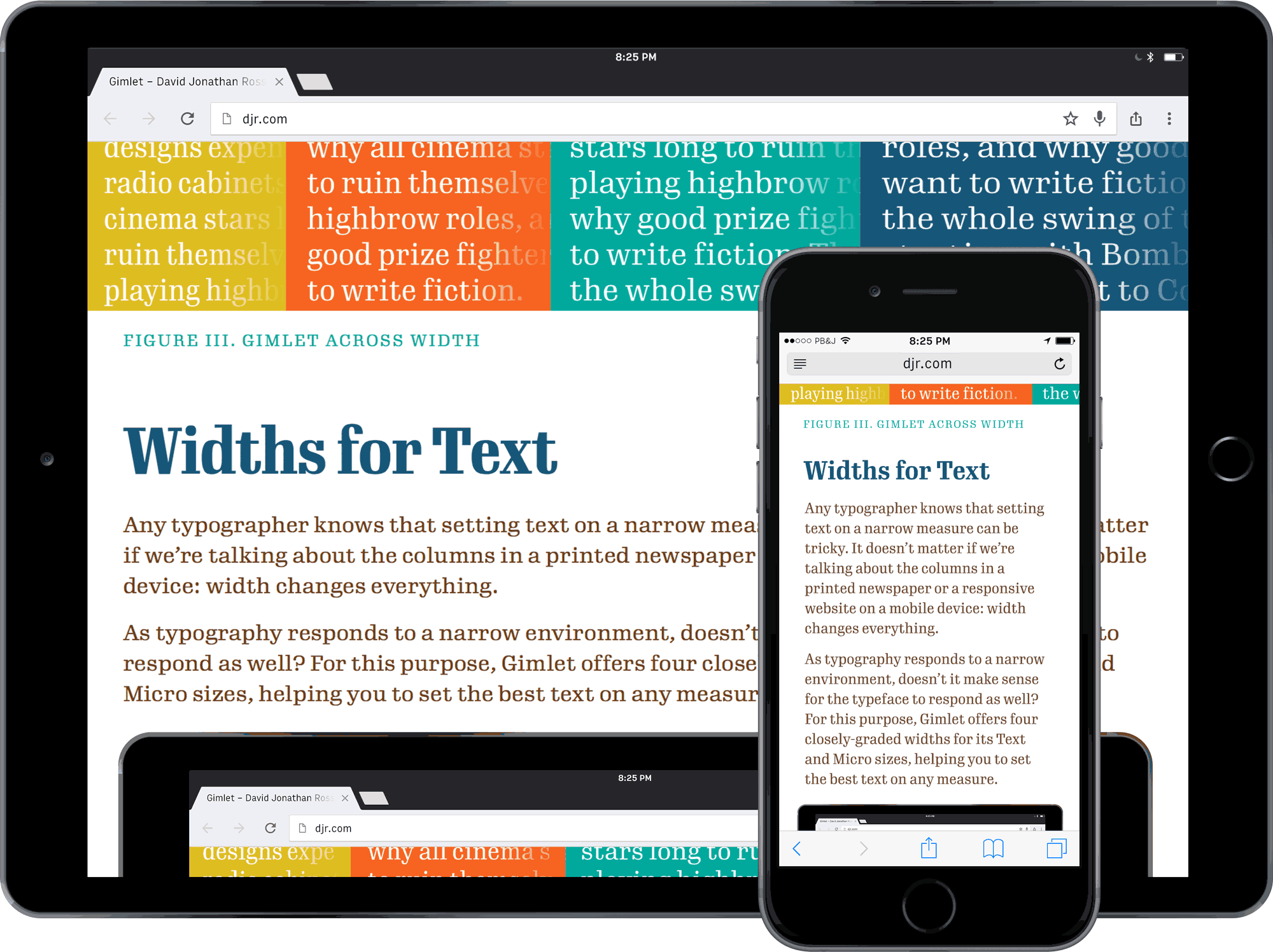 Gimlet widths in responsive design.
